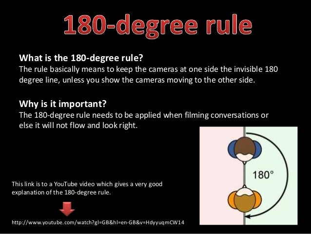 What is the 180-degree rule?  The rule basically means to keep the cameras at one side the invisible 180  degree line, unl...