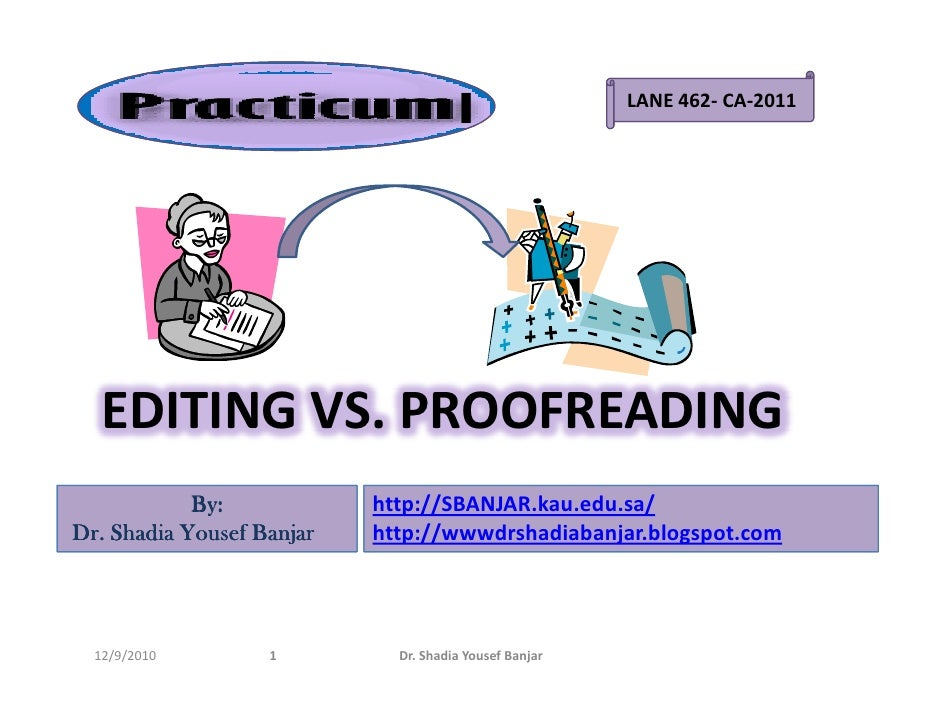 English In Italian: Editing Vs. Proofreading, By Dr. Shadia Y. Banjar.pptx