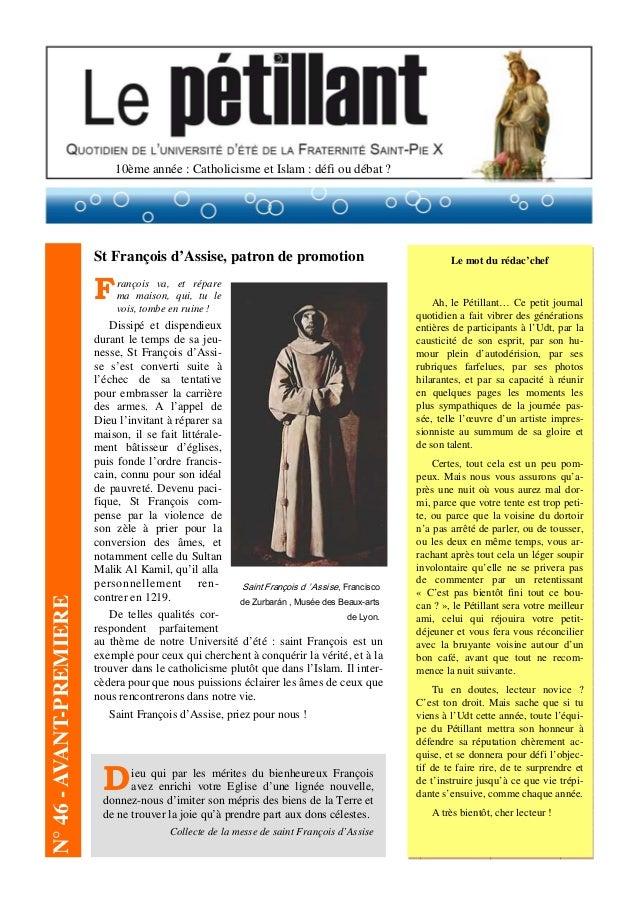 10ème année : Catholicisme et Islam : défi ou débat ? St François d'Assise, patron de promotion François va, et répare ma ...