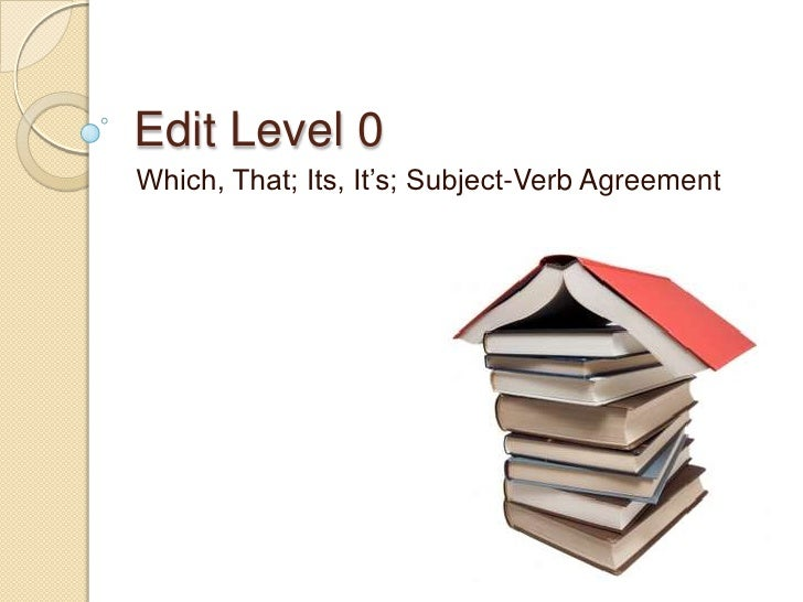 Edit Level 0<br />Which, That; Its, It's; Subject-Verb Agreement<br />