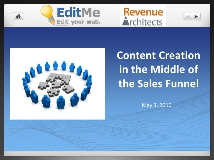 Content Creation in the Middle of the Sales Funnel<br />May 3, 2010<br />