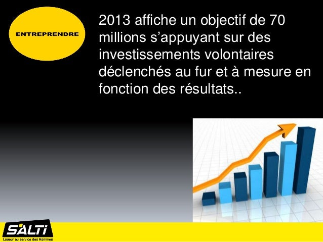 2013 affiche un objectif de 70millions s'appuyant sur desinvestissements volontairesdéclenchés au fur et à mesure enfoncti...
