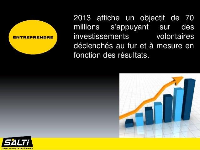 2013 affiche un objectif de 70millions s'appuyant sur desinvestissements         volontairesdéclenchés au fur et à mesure ...