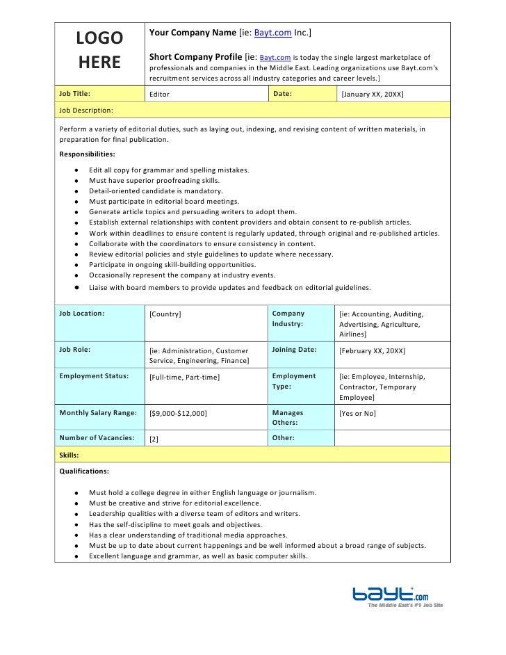 Editor Job Description Template by Bayt.com