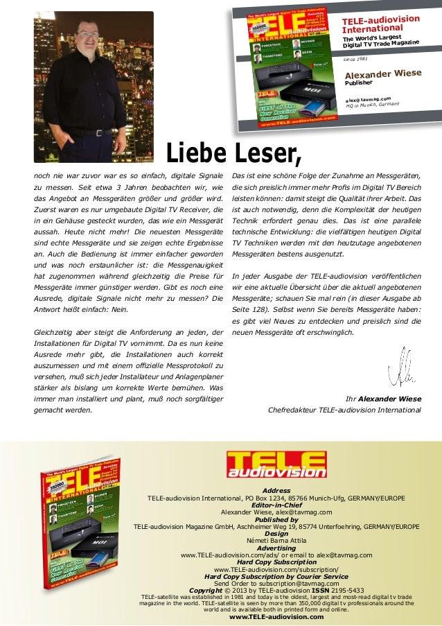 TELE-audiovision International The World's Largest Digital TV Trade Magazine since 1981 Alexander Wiese Publisher alex@tav...