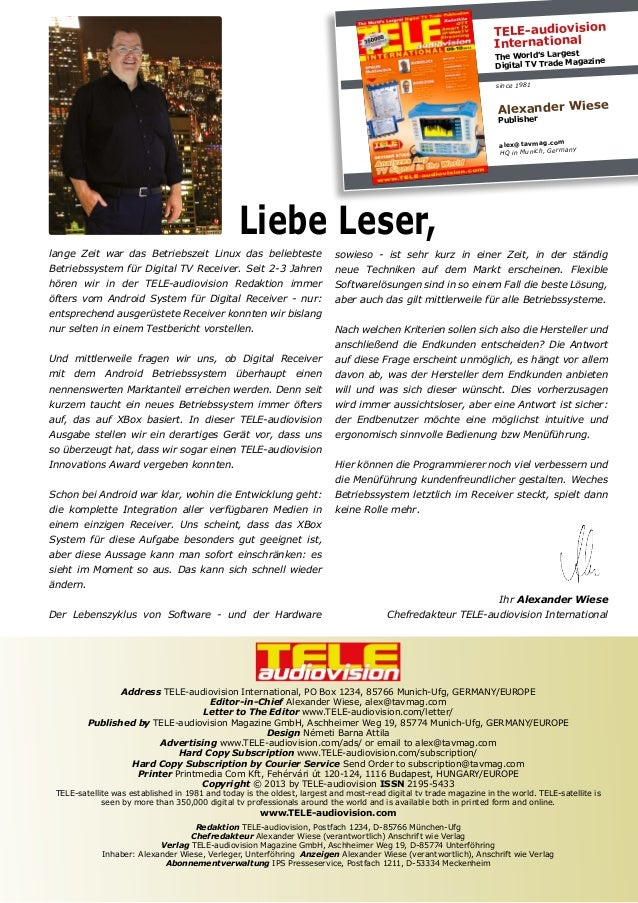 TELE-audiovision International t The World's Larges zine ital TV Trade Maga Dig since 1981  Alexander Wiese Publisher  ale...