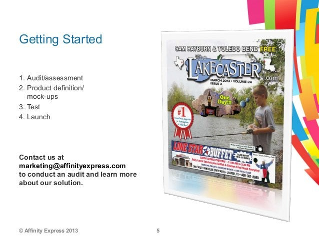 © Affinity Express 2013 51. Audit/assessment2. Product definition/mock-ups3. Test4. LaunchGetting StartedContact us atmark...