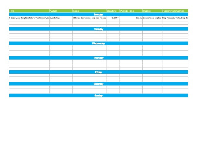 Editorial Calendar Template via Hootsuite