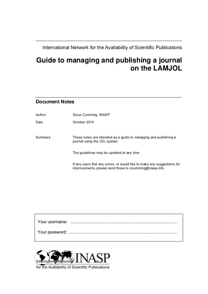 International Network for the Availability of Scientific PublicationsGuide to managing and publishing a journal           ...