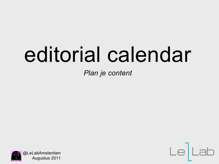 editorial calendar Plan je content