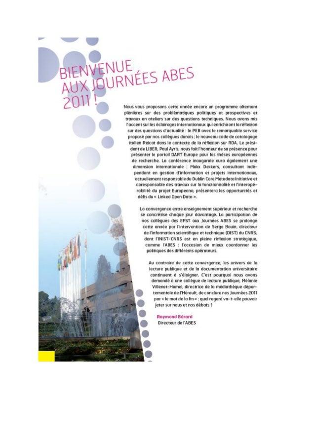 Jabes 2011 - Éditorial : Bienvenue aux Journées Abes 2011