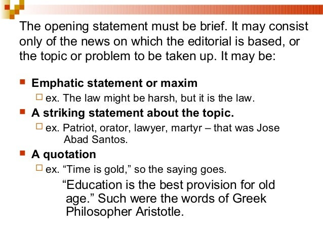 Good essay opening statements