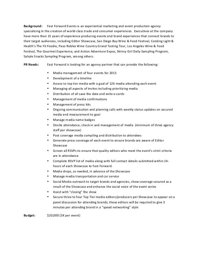 Pr event proposal