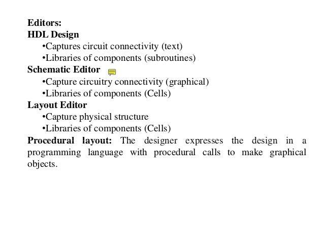 Editors: HDL Design •Captures circuit connectivity (text)•Captures circuit connectivity (text) •Libraries of components (s...