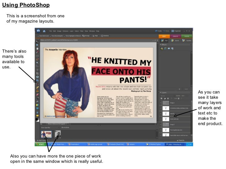 Using PhotoShop This is a screenshot from one of my magazine layouts. As you can see it take many layers of work and text ...