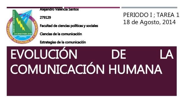 EVOLUCIÓN DE LA COMUNICACIÓN HUMANA Alejandro Valencia Santos 279129 Facultad de ciencias políticas y sociales Ciencias de...