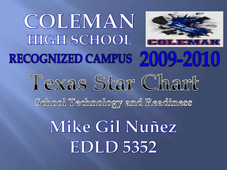 COLEMAN<br />HIGH SCHOOL<br />RECOGNIZED CAMPUS <br />2009-2010<br />Texas Star Chart<br />School Technology and Readiness...