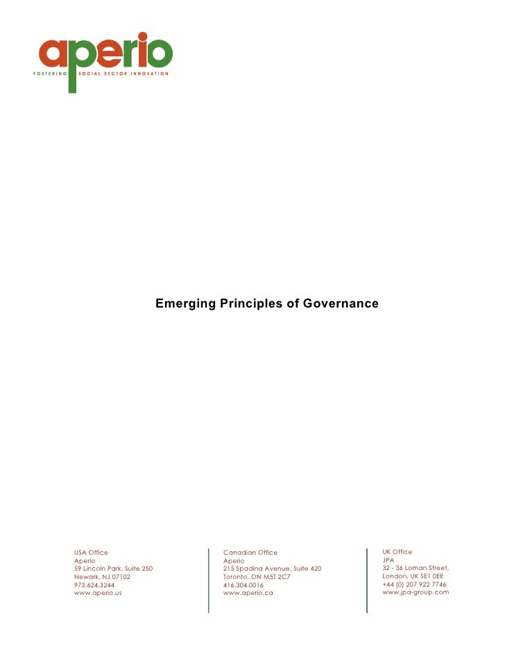 Emerging Principles of Governance     USA Office                             Canadian Office                 UK Office Ape...