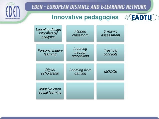 Innovative pedagogies Learning design informed by analytics Flipped classroom Dynamic assessment Personal inquiry learning...