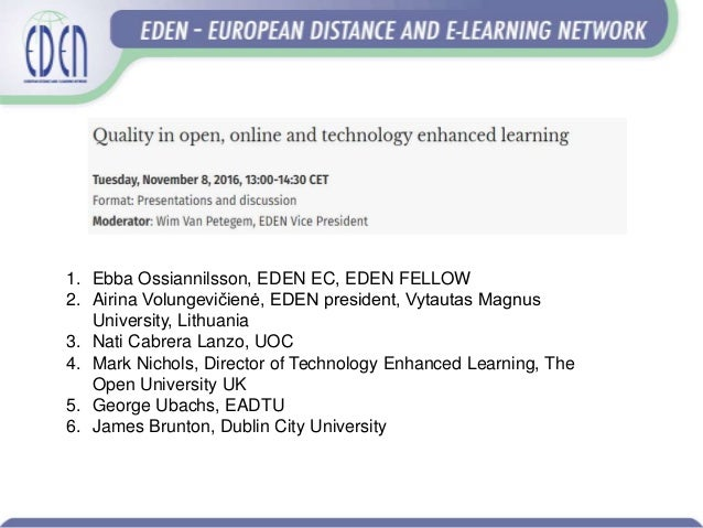 European Distance Learning Week: Technology enhanced learning integration into an organization: quality dimensions Slide 2
