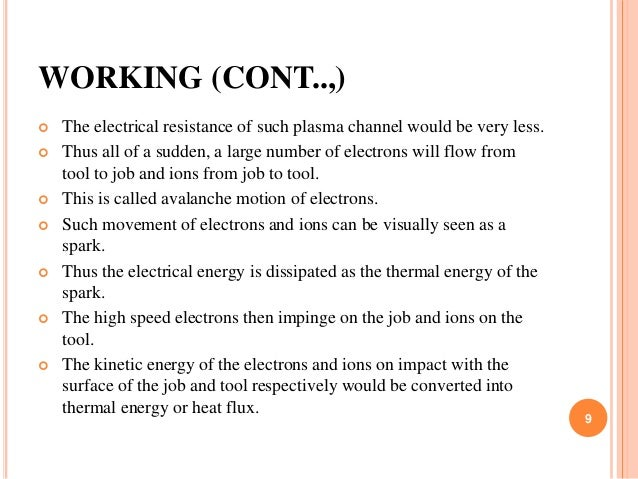 WORKING (CONT..,)  The electrical resistance of such plasma channel would be very less.  Thus all of a sudden, a large n...