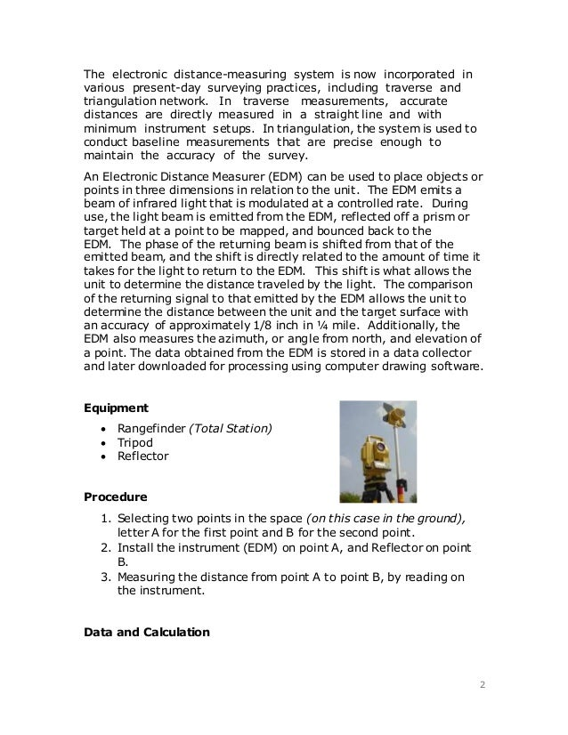 Surveying Electronic Distance Measurement : Electronic distance measurement edm report
