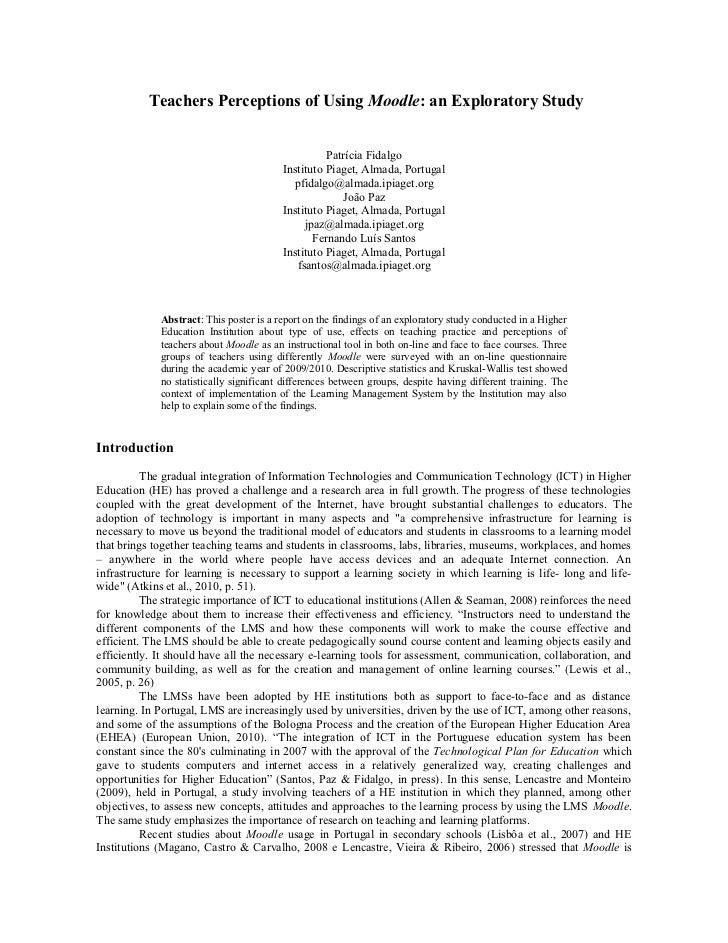 Teachers Perceptions of Using Moodle: an Exploratory Study                                                   Patrícia Fida...