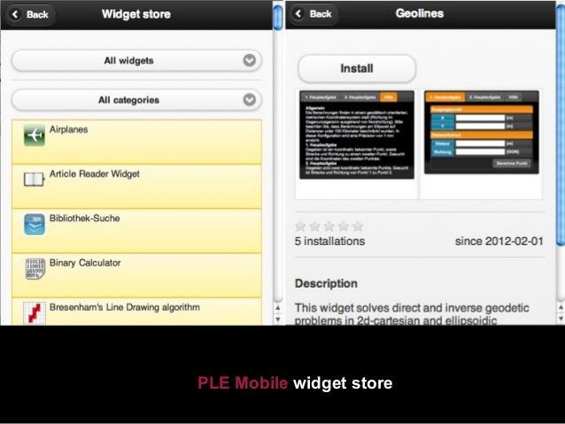 PLE Mobile widget Geolines