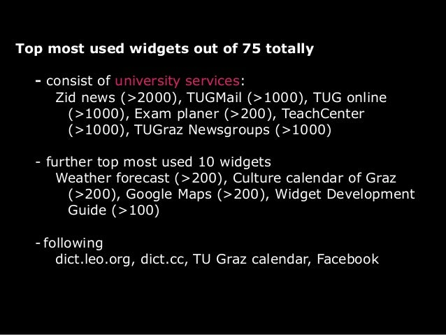 ...- most used widgets vs. most installed widgets- known services are installed mostly- widgets can be embedded now in any...