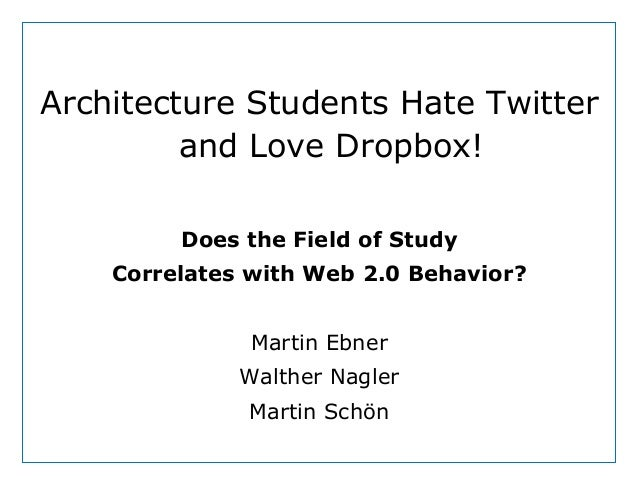 Dept. Social LearningTU Graz June - 2013Architecture Students Hate Twitterand Love Dropbox!Does the Field of StudyCorrelat...