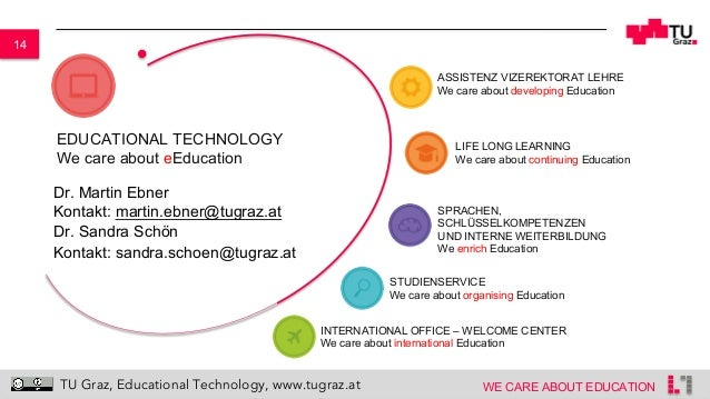 14 WE CARE ABOUT EDUCATION TU Graz, Educational Technology, www.tugraz.at EDUCATIONAL TECHNOLOGY We care about eEducation ...