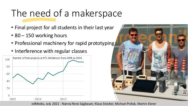 The need of a makerspace • Final project for all students in their last year • 80 – 150 working hours • Professional machi...