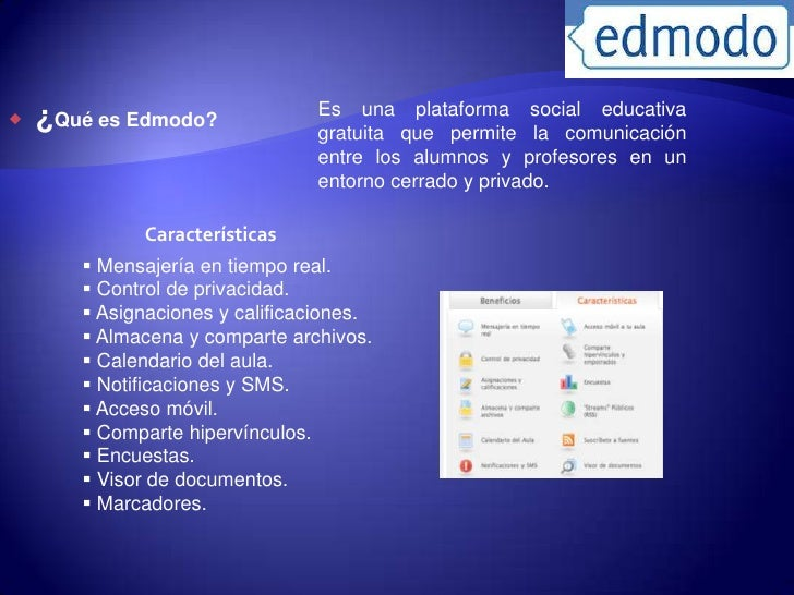 Es una plataforma social educativa   ¿Qué es Edmodo?              gratuita que permite la comunicación                   ...