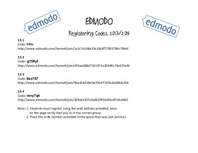 EDMODO Registering Codes 2013/2014 12-1 Code: lr9tz http://www.edmodo.com/home#/join/1a1c7e168a32e18c8f770937b9c70bbf 12-2...