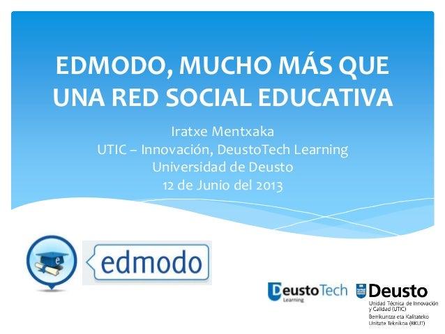 EDMODO, MUCHO MÁS QUE UNA RED SOCIAL EDUCATIVA Iratxe Mentxaka UTIC – Innovación, DeustoTech Learning Universidad de Deust...