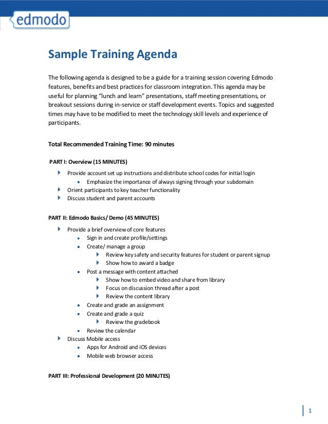 Amazing Sample Training AgendaThe Following Agenda Is Designed To Be A Guide For A  Training Session Covering ...