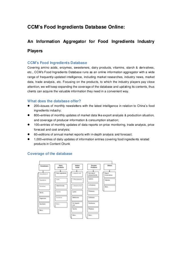 CCM's Food Ingredients Database Online: An Information Aggregator for Food Ingredients Industry Players CCM's Food Ingredi...