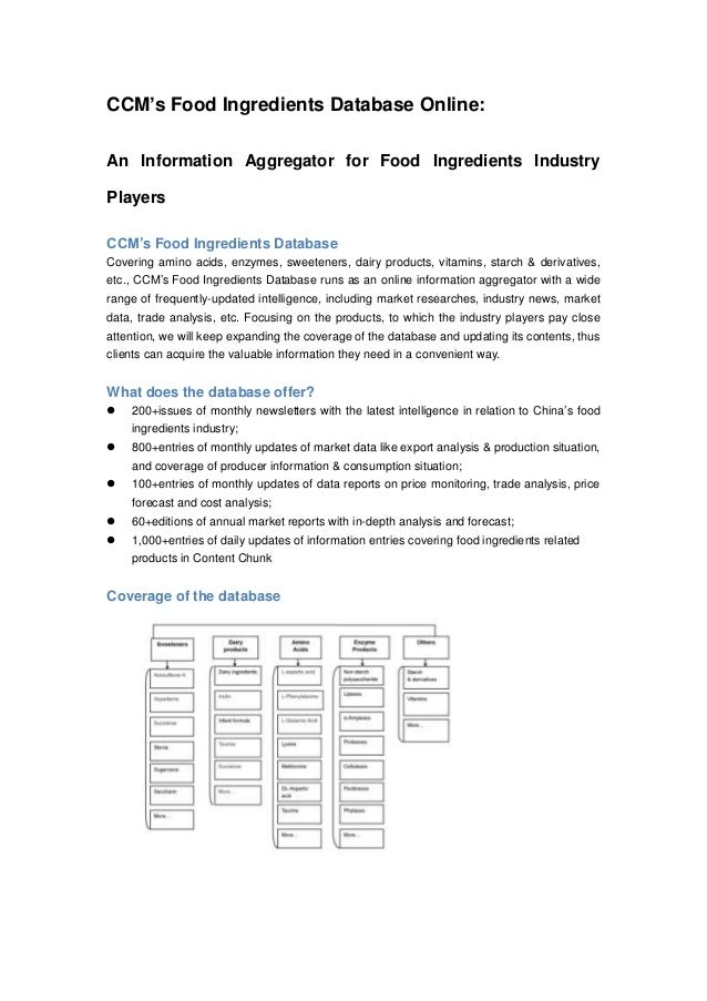 CCM's Food Ingredients Database Online: An Information Aggregator for Food Ingredients Industry Players CCM's Food Ingredi...