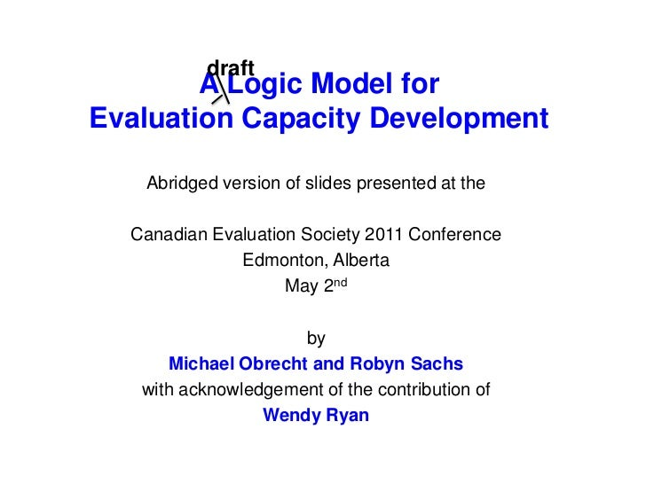 draft<br />A Logic Modelfor Evaluation Capacity Development <br />Abridged version of slides presented at the <br />Canadi...