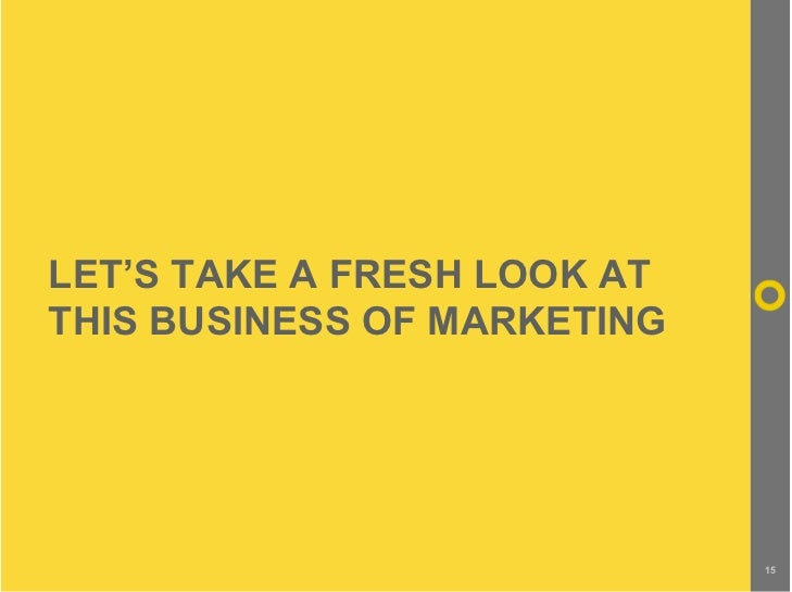 LET'S TAKE A FRESH LOOK AT THIS BUSINESS OF MARKETING                                  15