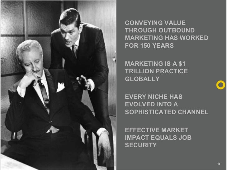 CONVEYING VALUE THROUGH OUTBOUND MARKETING HAS WORKED FOR 150 YEARS  MARKETING IS A $1 TRILLION PRACTICE GLOBALLY  EVERY N...