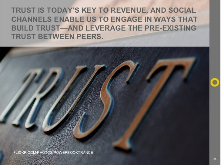 TRUST IS TODAY'S KEY TO REVENUE, AND SOCIAL CHANNELS ENABLE US TO ENGAGE IN WAYS THAT BUILD TRUST—AND LEVERAGE THE PRE-EXI...
