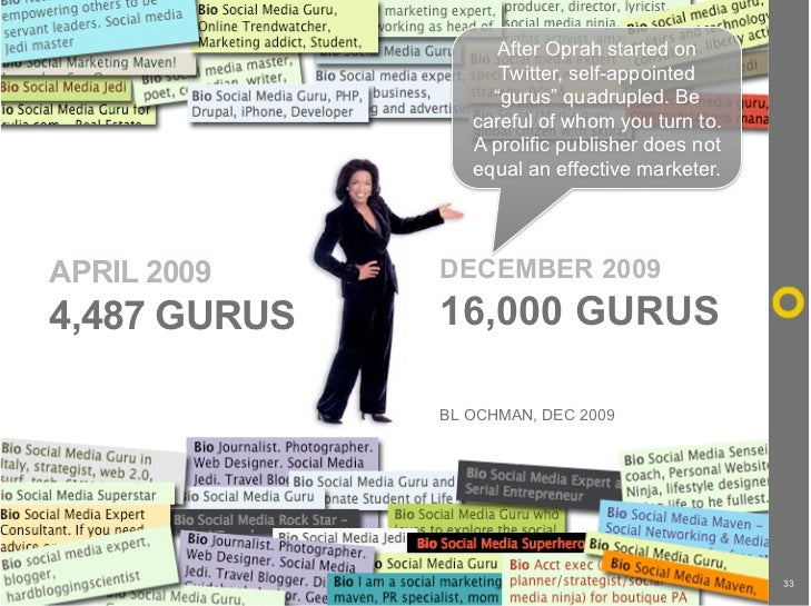 """After Oprah started on                     Twitter, self-appointed                    """"gurus"""" quadrupled. Be              ..."""