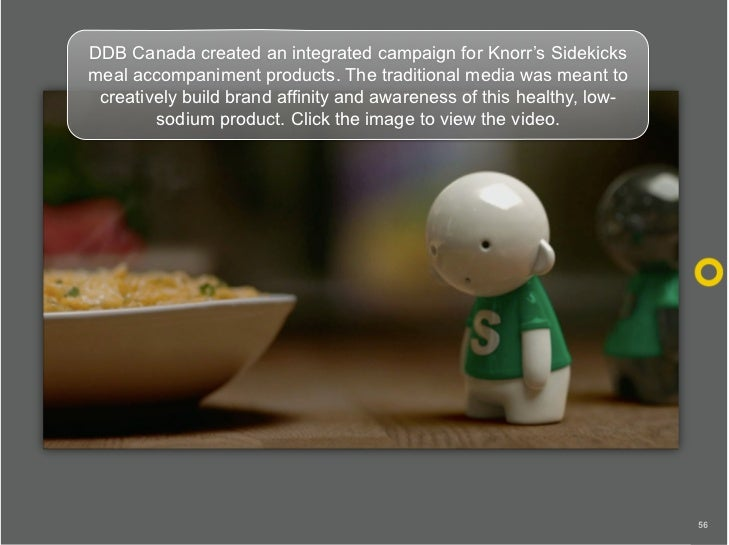 DDB Canada created an integrated campaign for Knorr's Sidekicks meal accompaniment products. The traditional media was mea...