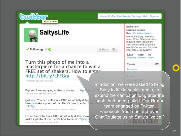 In addition, we were asked to bring    Salty to life in social media, to extend the campaign long after the  spots had bee...