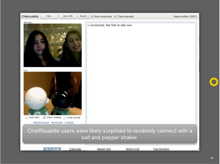 ChatRoulette users were likely surprised to randomly connect with a                     salt and pepper shaker.           ...