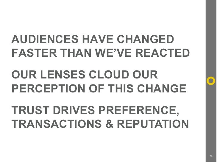 AUDIENCES HAVE CHANGED FASTER THAN WE'VE REACTED OUR LENSES CLOUD OUR PERCEPTION OF THIS CHANGE TRUST DRIVES PREFERENCE, T...