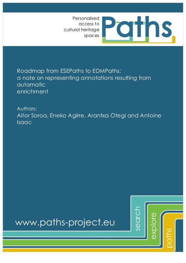 Personalised access to cultural heritage spaces  Roadmap from ESEPaths to EDMPaths: a note on representing annotations res...