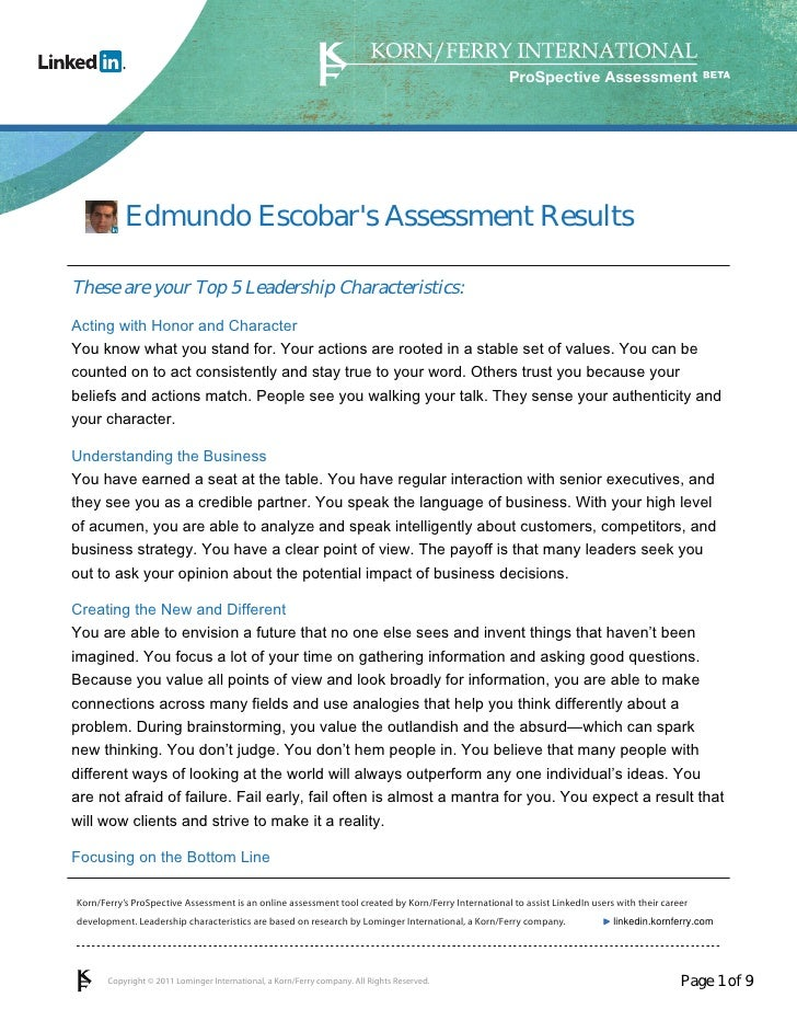 ProSpective Assessment           Edmundo Escobars Assessment ResultsThese are your Top 5 Leadership Characteristics:Acting...