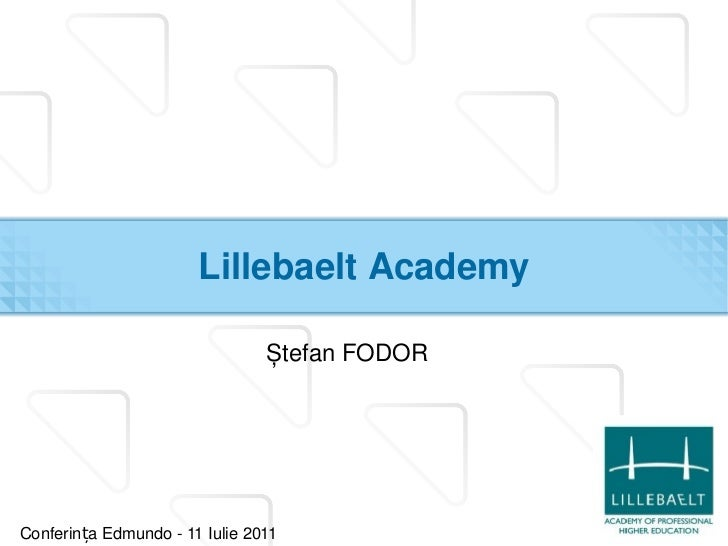 Lillebaelt Academy <ul><li>Ștefan FODOR </li></ul>Conferința Edmundo - 11 Iulie 2011
